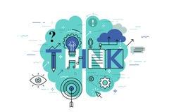 Το λεπτό έμβλημα σχεδίου γραμμών επίπεδο για σκέφτεται ιστοσελίδας, εκμάθηση, γνώση, καινοτομία, δημιουργικότητα, λύσεις ελεύθερη απεικόνιση δικαιώματος