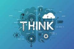 Το λεπτό έμβλημα σχεδίου γραμμών επίπεδο για σκέφτεται ιστοσελίδας, εκμάθηση, γνώση, καινοτομία, δημιουργικότητα, λύσεις διανυσματική απεικόνιση