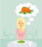 Το λεπτό κορίτσι ονειρεύεται ένα κοτόπουλο ψητού διανυσματική απεικόνιση
