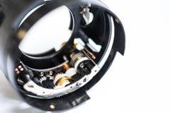 Το εργαλείο φακών καμερών κυλά την κινηματογράφηση σε πρώτο πλάνο - μακροεντολή τεχνολογίας - Στοκ Εικόνα