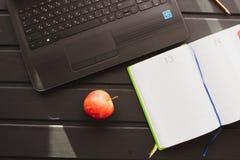 Το εργασιακό περιβάλλον Netbook με ένα σημειωματάριο είναι στον πίνακα στοκ εικόνες με δικαίωμα ελεύθερης χρήσης