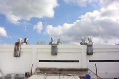 Το εργοστάσιο οικοδόμησης κοντά στον ουρανό στοκ φωτογραφία με δικαίωμα ελεύθερης χρήσης