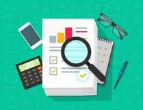 Το ερευνητικό διάνυσμα στοιχείων Analytics, ανάλυση στο μεγάλο σωρό των εγγράφων φύλλων εγγράφου μέσω πιό magnifier, στατιστικές  Στοκ Εικόνες