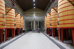 Το εσωτερικό ενός κελαριού κρασιού του Rioja κάλεσε Marques de Riscal με τα μεγάλα βαρέλια όπου τα σταφύλια ρίχνονται έτσι ώστε Στοκ φωτογραφία με δικαίωμα ελεύθερης χρήσης