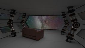 Το εσωτερικό διαστημοπλοίων με χαλαρώνει την άποψη καναπέδων σχετικά με τη διαστημική και απόμακρη τρισδιάστατη απεικόνιση συστημ Στοκ Φωτογραφία