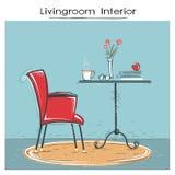 Το εσωτερικό καθιστικών για την ανάγνωση ή χαλαρώνει Συρμένο χέρι σκίτσο χρώματος Στοκ φωτογραφία με δικαίωμα ελεύθερης χρήσης