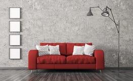 Το εσωτερικό με τον κόκκινο καναπέ ενάντια του συμπαγούς τοίχου τρισδιάστατου δίνει ελεύθερη απεικόνιση δικαιώματος