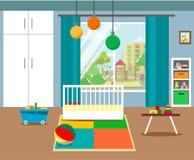 Το εσωτερικό του δωματίου παιδιών ` s με ένα λίκνο, τις ντουλάπες, ένα παράθυρο, έναν τάπητα και τα παιχνίδια σε ένα επίπεδο ύφος διανυσματική απεικόνιση
