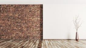 Το εσωτερικό του κενού υποβάθρου δωματίων τρισδιάστατου δίνει Στοκ εικόνα με δικαίωμα ελεύθερης χρήσης