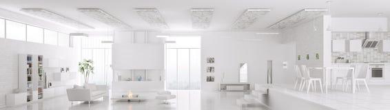 Το εσωτερικό του σύγχρονου άσπρου πανοράματος διαμερισμάτων τρισδιάστατου δίνει Στοκ Εικόνες