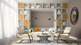 Το εσωτερικό του δωματίου σύγχρονου σχεδίου με την άσπρη πολυθρόνα δύο τρισδιάστατη δίνει Στοκ Φωτογραφία