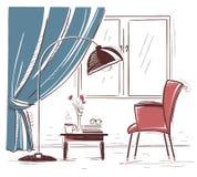Το εσωτερικό χέρι σύρει την απεικόνιση του καθιστικού με την πολυθρόνα και Στοκ Εικόνες