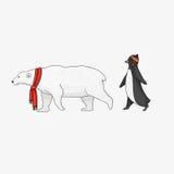 Το λευκό κινούμενων σχεδίων αντέχει και penguin απεικόνιση Στοκ Εικόνα
