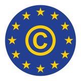 Το ευρο- εικονίδιο πνευματικών δικαιωμάτων για τον Ιστό απομονώνει το μπλε διανυσματική απεικόνιση