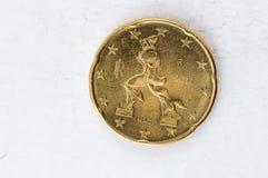 20 το ευρο- νόμισμα σεντ με την ιταλική πίσω πλευρά χρησιμοποιούμενη κοιτάζει Στοκ Εικόνες