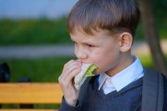 Το ευρωπαϊκό αγόρι τρώει το σχολικό πρόγευμα στον πάγκο πάρκων στοκ εικόνες