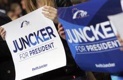 Το ευρωπαϊκό ΕΛΚ Juncker προεκλογικής εκστρατείας Στοκ Εικόνες