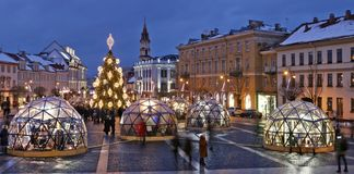 Christmas European city square and decorated illuminate fir tree on European old town