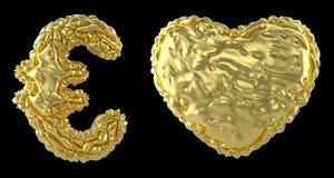 Το ευρώ και η καρδιά συλλογής συμβόλων φιαγμένα από ρεαλιστικό τρισδιάστατο δίνουν το τσαλακωμένο χρυσό φύλλο αλουμινίου Συλλογή  απεικόνιση αποθεμάτων