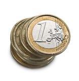 το ευρώ νομισμάτων ανασκόπησης απομόνωσε το λευκό Στοκ εικόνα με δικαίωμα ελεύθερης χρήσης