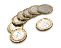 το ευρώ νομισμάτων ανασκόπησης απομόνωσε το λευκό Στοκ Φωτογραφίες