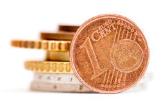 το ευρώ νομισμάτων απομόνω& Στοκ εικόνες με δικαίωμα ελεύθερης χρήσης