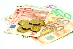 το ευρώ νομισμάτων τραπεζ&o Στοκ φωτογραφίες με δικαίωμα ελεύθερης χρήσης