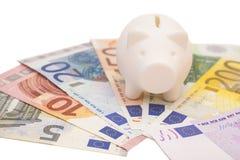 το ευρώ τραπεζών σημειώνει piggy που περιβάλλεται Στοκ Εικόνα