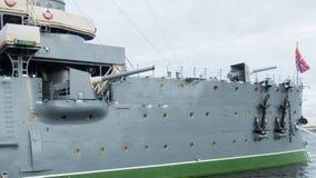 Το δευτερεύον πυροβόλο του ταχύπλοου σκάφους Avrora στην Άγιος-Πετρούπολη, Ρωσία Στοκ Εικόνες