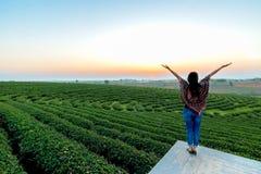 Το ευτυχές αγαθό συναισθήματος ταξιδιωτικών γυναικών τρόπου ζωής χαλαρώνει στοκ φωτογραφία με δικαίωμα ελεύθερης χρήσης