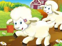 Το ευτυχές - αστεία απεικόνιση με τα πρόβατα τρεξίματος - σχέδιο για τα παιδιά Στοκ εικόνες με δικαίωμα ελεύθερης χρήσης
