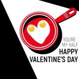 Το ευτυχές αυγό ημέρας βαλεντίνων ` s εσείς είναι μισό μονοχρωματικό και κόκκινο μου μαύρο λευκό Στοκ φωτογραφίες με δικαίωμα ελεύθερης χρήσης
