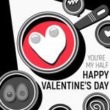 Το ευτυχές αυγό ημέρας βαλεντίνων ` s εσείς είναι το μισό και το κόκκινό μου μαύρο λευκό Στοκ φωτογραφία με δικαίωμα ελεύθερης χρήσης