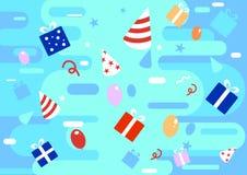 Το ευτυχές ζωηρόχρωμο υπόβαθρο εορτασμού στο επίπεδο ύφος με τα δώρα, παρουσιάζει, κορδέλλες, απεικονίσεις μπαλονιών r ελεύθερη απεικόνιση δικαιώματος