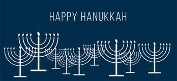 Το ευτυχές κείμενο Hanukkah και επαναλαμβάνει το σχέδιο της απλής περίληψης Hanukkah menorah με το κάψιμο των κεριών στο άσπρο μπ