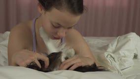 Το ευτυχές κορίτσι εφήβων φιλά και παίζει με το σκυλί Papillon στο βίντεο μήκους σε πόδηα αποθεμάτων κρεβατιών φιλμ μικρού μήκους