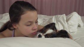 Το ευτυχές κορίτσι εφήβων φιλά και παίζει με το σκυλί Papillon στο βίντεο μήκους σε πόδηα αποθεμάτων κρεβατιών απόθεμα βίντεο
