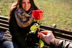 Το ευτυχές κορίτσι που χαλάρωσαν στο πάρκο που εξετάζει το κόκκινο αυξήθηκε Στοκ Φωτογραφία