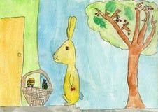 Το ευτυχές κουνέλι λαγουδάκι Πάσχας φέρνει τα δώρα στα παιδιά Στοκ εικόνα με δικαίωμα ελεύθερης χρήσης