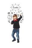 Το ευτυχές να φωνάξει αγοριών EUREKA Στοκ Εικόνες