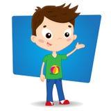 Το ευτυχές χέρι απεικόνισης κινούμενων σχεδίων αγοριών δείχνει απεικόνιση αποθεμάτων