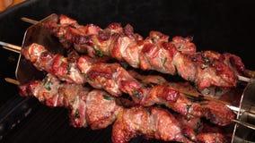 Το ευώδες shish kebab Shashlik ψήνεται στα οβελίδια στη σχάρα αερίου φιλμ μικρού μήκους