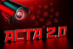 Το εχθρικό CCTV κρατά το μάτι στα ΠΡΑΚΤΙΚΆ 2 σημάδι 0 Ενωμένος κανονισμός της Ευρώπης Parlament που μπορεί να αλλάξει Διαδίκτυο π απεικόνιση αποθεμάτων