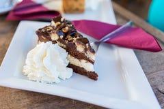 Το εύγευστο κέικ σοκολάτας με η κρέμα Στοκ φωτογραφίες με δικαίωμα ελεύθερης χρήσης