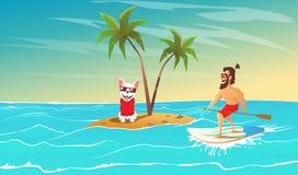 Το εύθυμα surfer και το σκυλί είναι χαλαρώνουν απεικόνιση αποθεμάτων