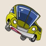 Το εύθυμο κίτρινο λεωφορείο χαρακτήρα κινουμένων σχεδίων στέκεται λοξά Στοκ εικόνα με δικαίωμα ελεύθερης χρήσης