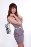 Το εύθυμο κορίτσι με την τσάντα Στοκ Εικόνες