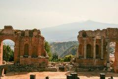 Το ελληνικό θέατρο Taormina Στοκ Εικόνες