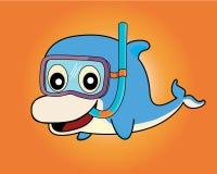 Το δελφίνι κολυμπά με αναπνευτήρα δύτης, διάνυσμα Στοκ Φωτογραφία