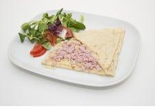 Το ζαμπόν και το τυρί crepe Στοκ Εικόνες
